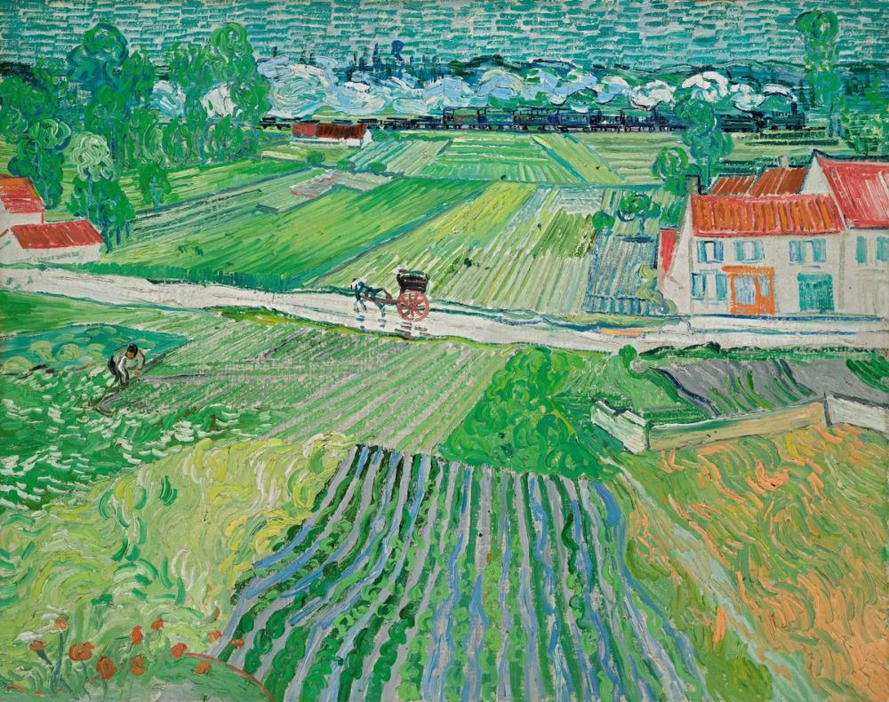 Vincent van Gogh, Landscape with a Carriage and a Train, Canvas, Vincent Van Gogh, kanvas tablo, canvas print sales