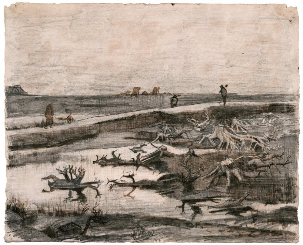Vincent van Gogh, Bataklık Meşe Gövdeleri ile Manzara, Kanvas Tablo, Vincent Van Gogh, kanvas tablo, canvas print sales