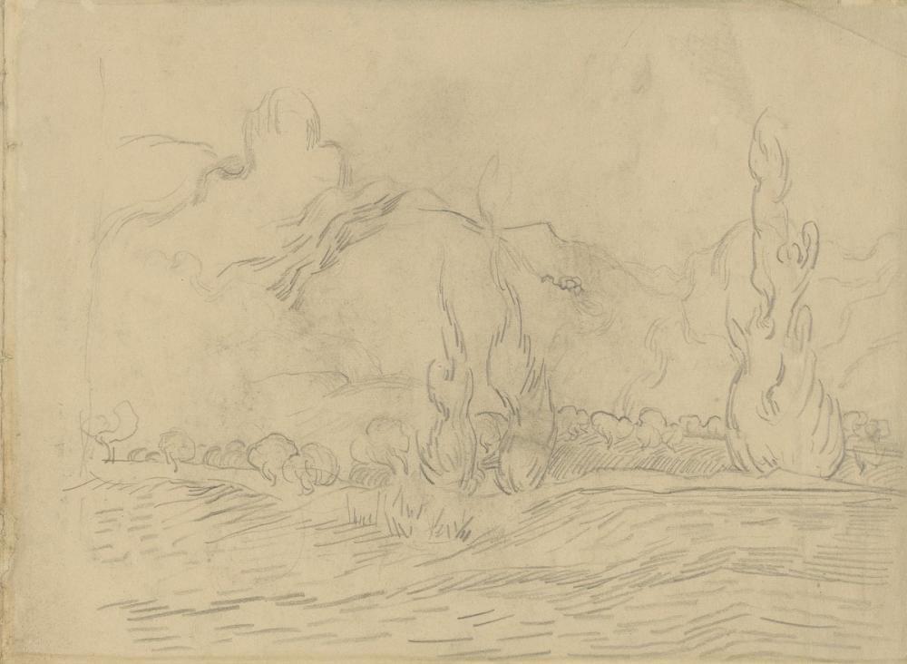 Vincent van Gogh, Landscape with Cypresses, Canvas, Vincent Van Gogh, kanvas tablo, canvas print sales