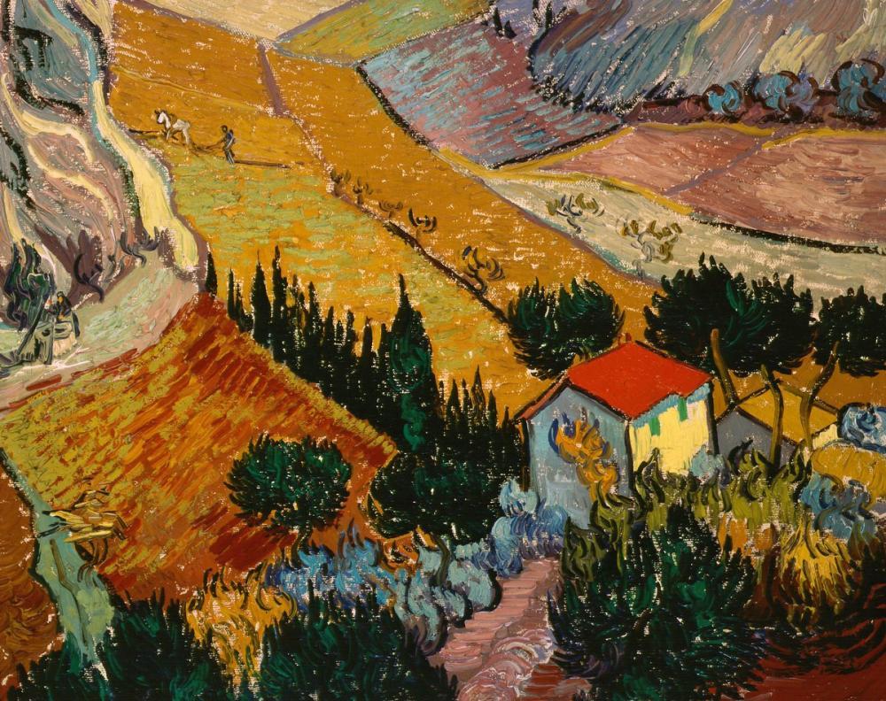 Vincent van Gogh, Ev ve Köylü ile Manzara, Kanvas Tablo, Vincent Van Gogh, kanvas tablo, canvas print sales