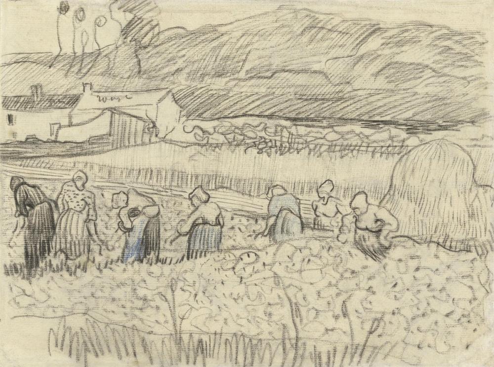 Vincent van Gogh, Landscape with Peasant Women Harvesting, Canvas, Vincent Van Gogh, kanvas tablo, canvas print sales