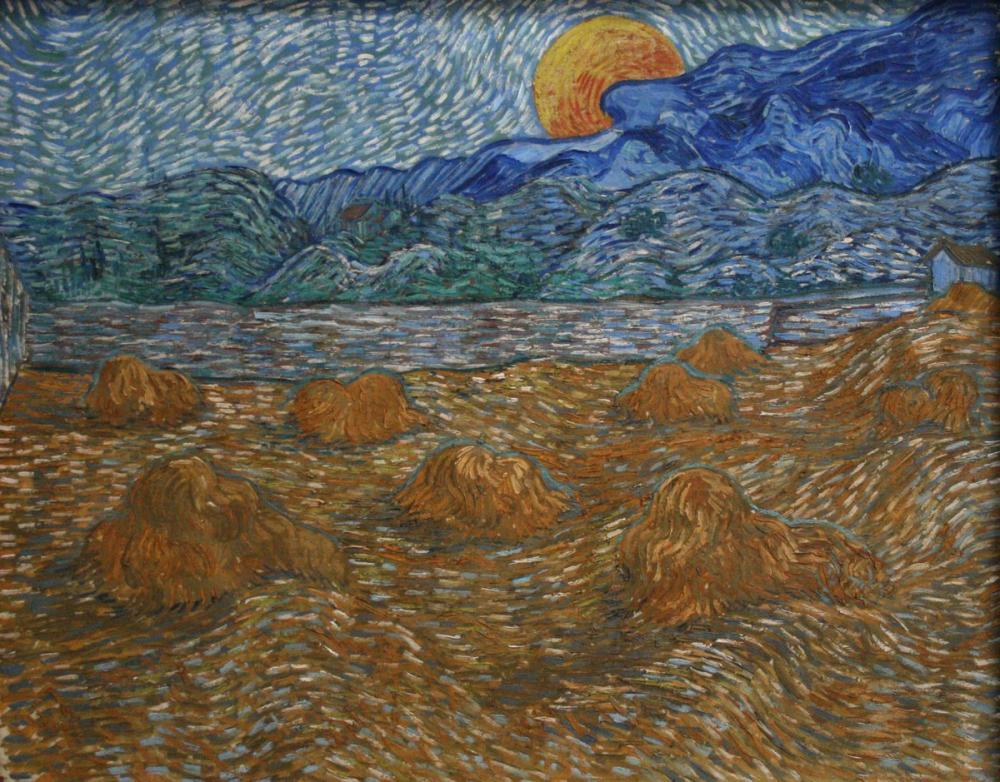 Vincent van Gogh, Landscape with Wheat Sheaves and Rising Moon, Canvas, Vincent Van Gogh, kanvas tablo, canvas print sales