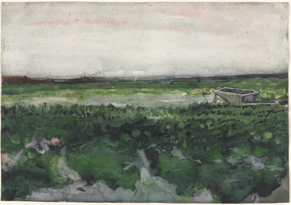 Vincent van Gogh, El Arabası ile Manzara, Kanvas Tablo, Vincent Van Gogh, kanvas tablo, canvas print sales