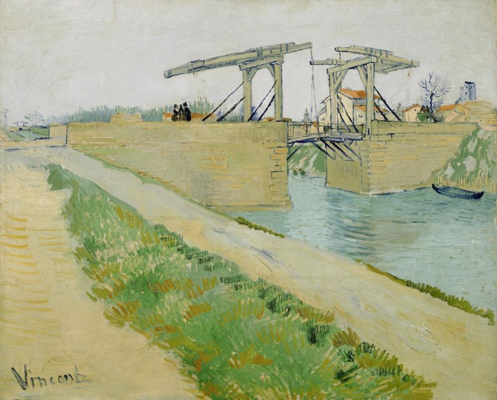 Vincent van Gogh, Arles deki Langlois Köprüsü Kanalın Yanındaki Yolu, Kanvas Tablo, Vincent Van Gogh, kanvas tablo, canvas print sales
