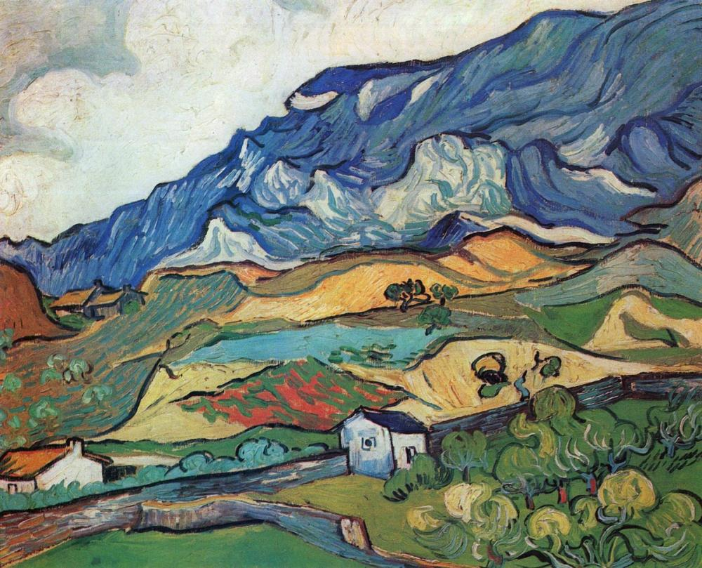 Vincent van Gogh, Les Alpilles Mountain Landscape Near South Reme, Canvas, Vincent Van Gogh, kanvas tablo, canvas print sales