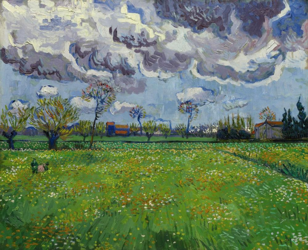 Vincent van Gogh, Meadow with Flowers Under Stormy Sky, Canvas, Vincent Van Gogh, kanvas tablo, canvas print sales