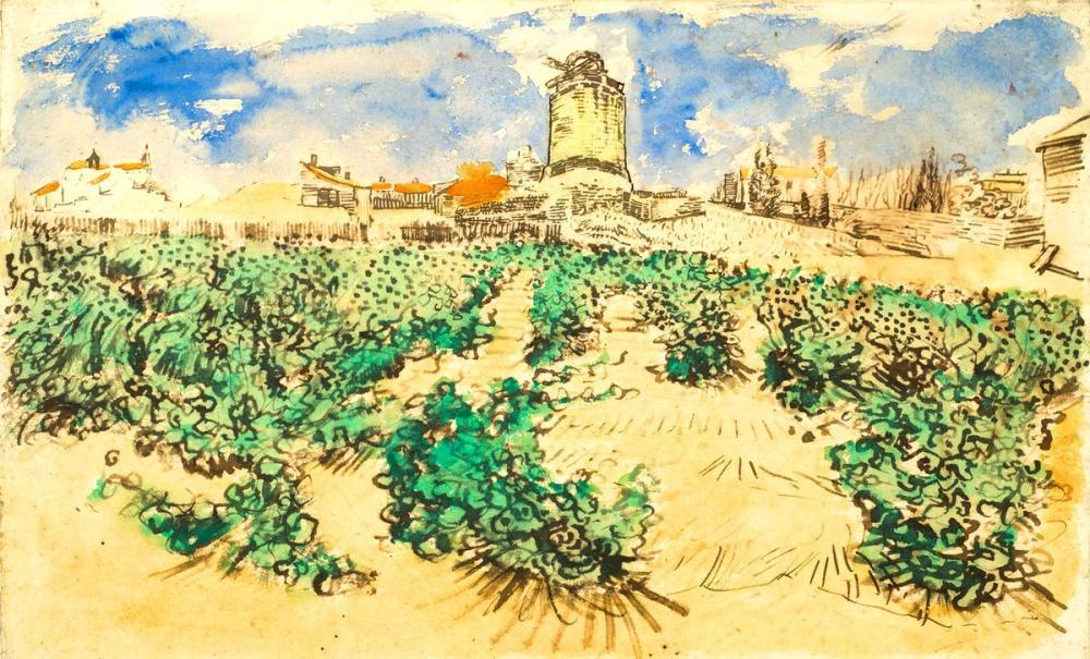 Vincent van Gogh, Mill of Alphonse Daudet at Fontvieille, Canvas, Vincent Van Gogh, kanvas tablo, canvas print sales