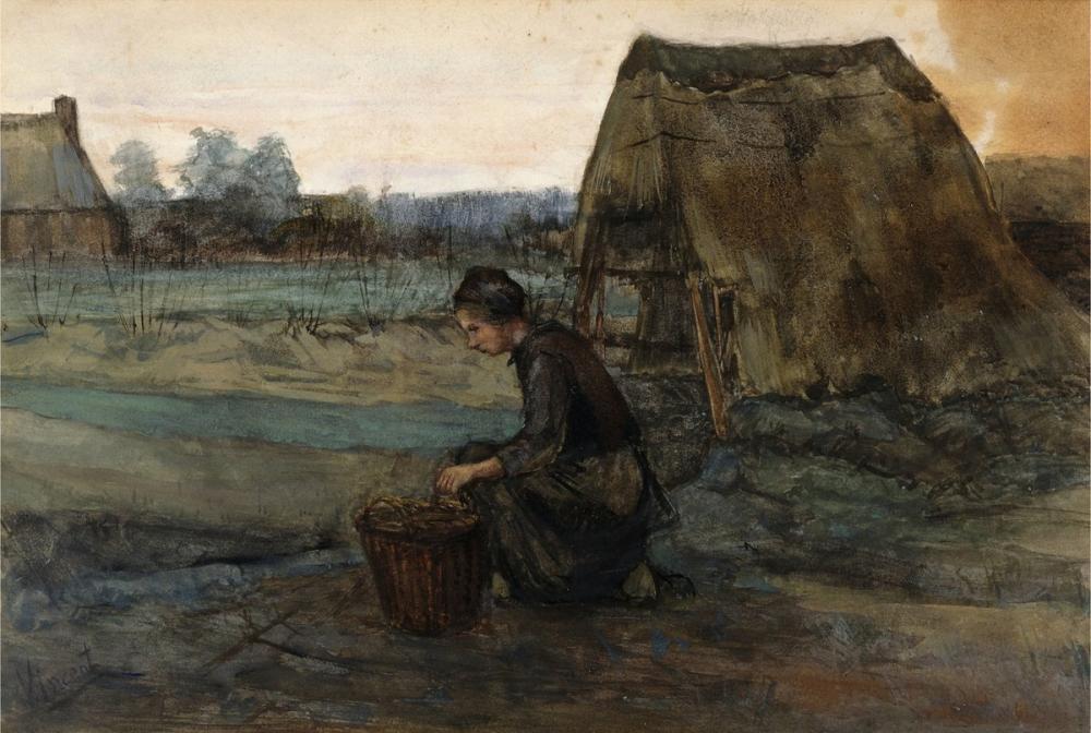 Vincent van Gogh, Paysanne Agenouillee Devant une Cabane, Canvas, Vincent Van Gogh, kanvas tablo, canvas print sales