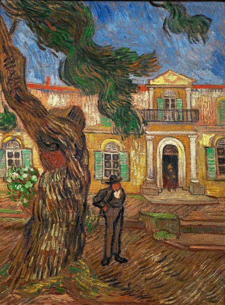 Vincent van Gogh, Saint Paul Hastanesi Önünde Çam ve Figür, Kanvas Tablo, Vincent Van Gogh, kanvas tablo, canvas print sales