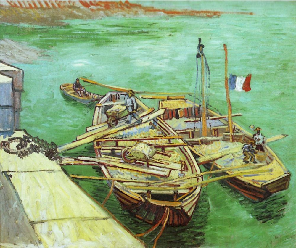 Vincent van Gogh, Quay with Men Unloading Sand Barges, Canvas, Vincent Van Gogh, kanvas tablo, canvas print sales