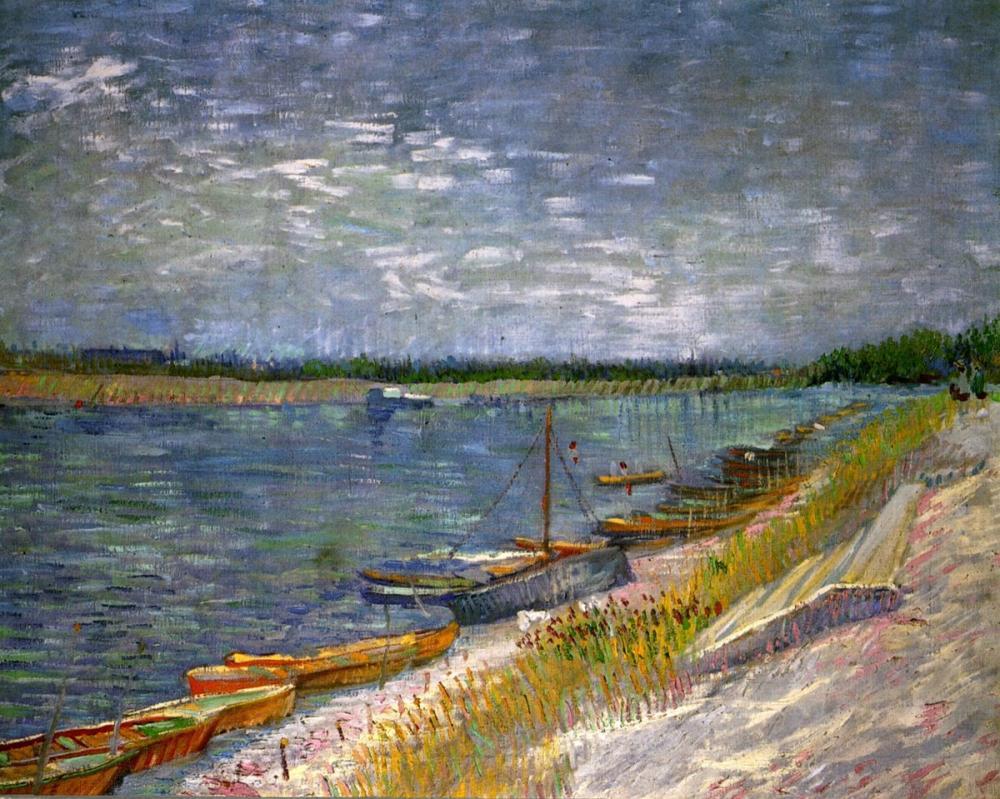 Vincent van Gogh, Kıyıda Kayıklar ile Nehir Manzarası, Kanvas Tablo, Vincent Van Gogh, kanvas tablo, canvas print sales