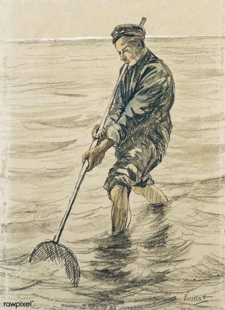 Vincent van Gogh, Schelpenvisser, Canvas, Vincent Van Gogh, kanvas tablo, canvas print sales