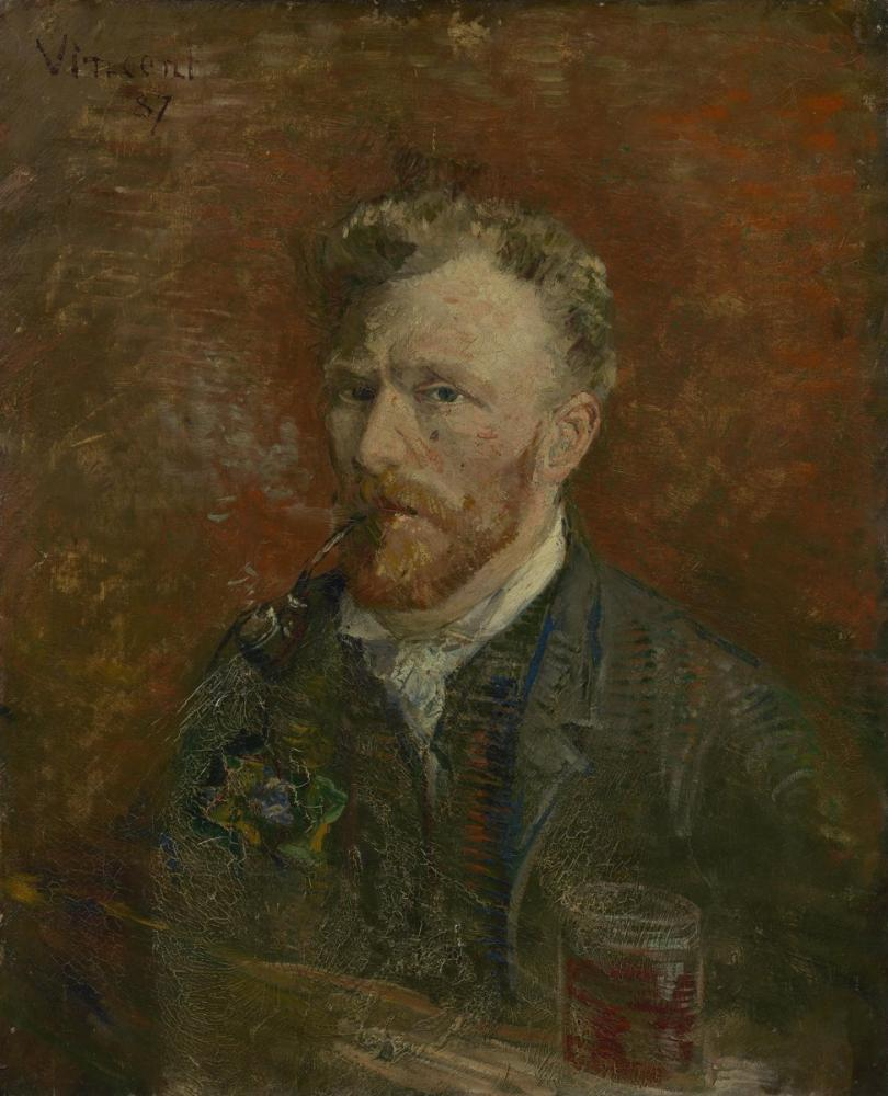 Vincent van Gogh, Self Portrait with Pipe and Glass, Canvas, Vincent Van Gogh, kanvas tablo, canvas print sales
