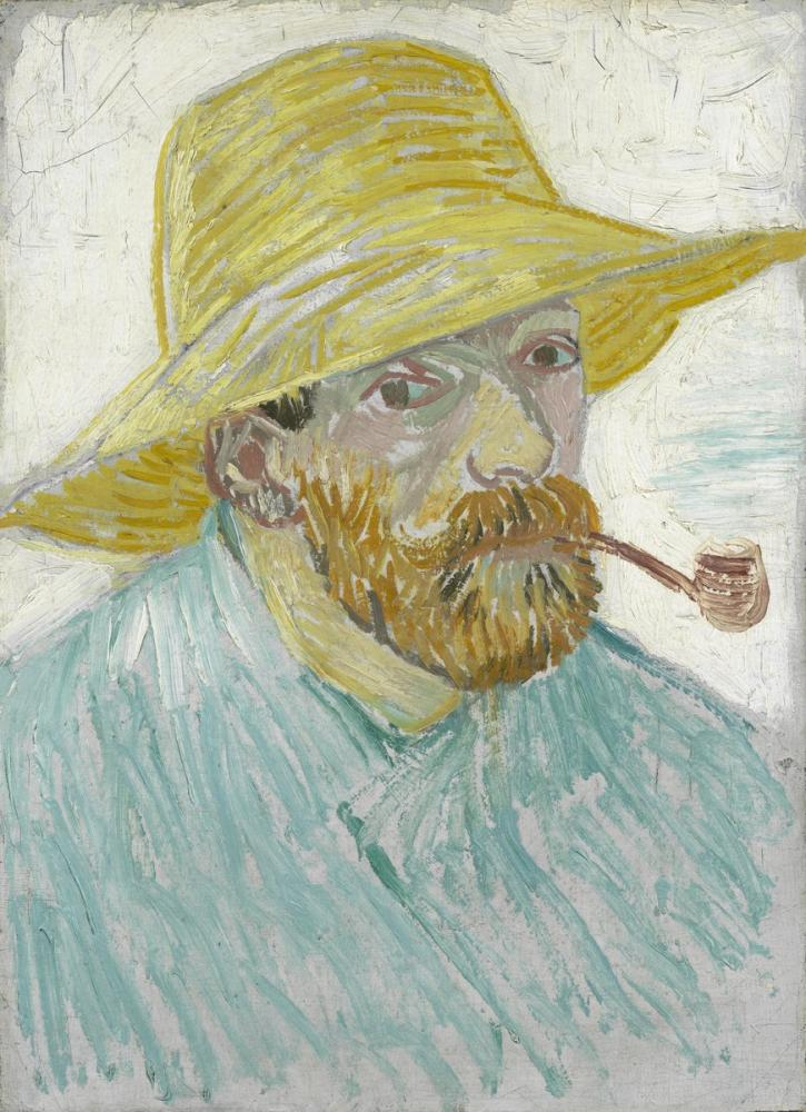 Vincent van Gogh, Self Portrait with Pipe and Straw Hat, Canvas, Vincent Van Gogh, kanvas tablo, canvas print sales