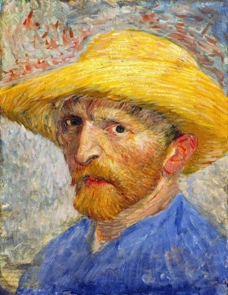 Vincent van Gogh, Self Portrait with Straw Hat, Canvas, Vincent Van Gogh, kanvas tablo, canvas print sales