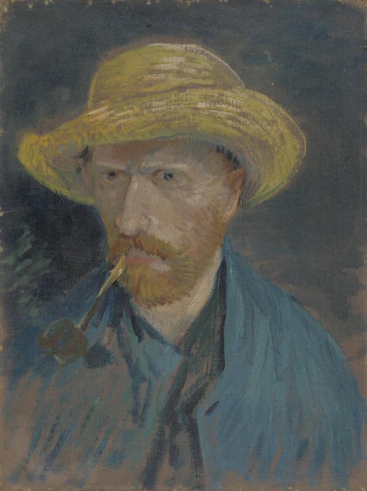 Vincent van Gogh, Self Portrait with Straw Hat and Pipe, Canvas, Vincent Van Gogh, kanvas tablo, canvas print sales