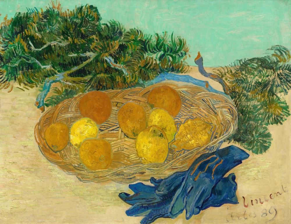 Vincent van Gogh, Still Life of Oranges and Lemons with Blue Gloves, Canvas, Vincent Van Gogh, kanvas tablo, canvas print sales