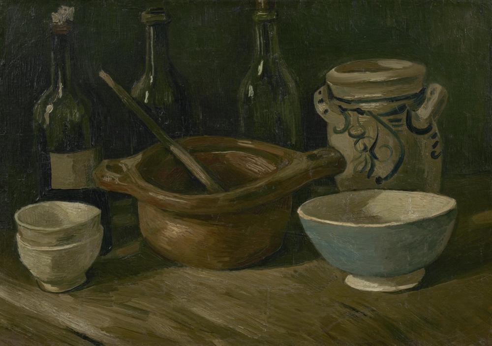 Vincent van Gogh, Çanaklı ve Şişeli Natürmort, Kanvas Tablo, Vincent Van Gogh, kanvas tablo, canvas print sales