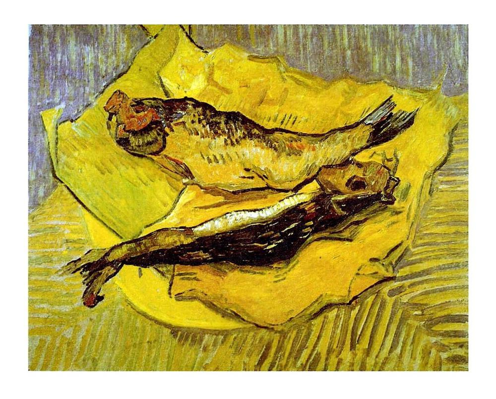 Vincent van Gogh, Still Life with Smoked Herrings on Yellow Paper, Canvas, Vincent Van Gogh, kanvas tablo, canvas print sales