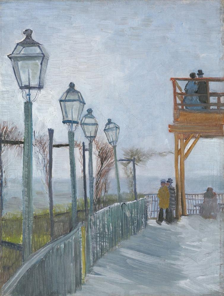 Vincent van Gogh, Terrace and Observation Deck at the Moulin de Blute Fin, Montmartre, Canvas, Vincent Van Gogh, kanvas tablo, canvas print sales