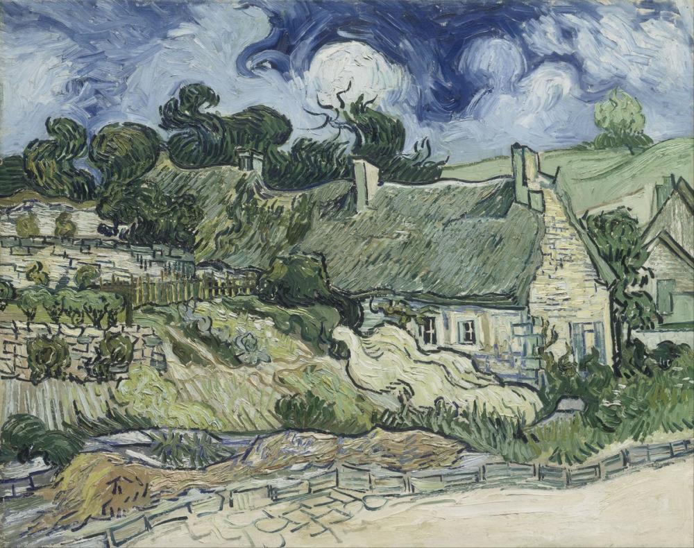 Vincent van Gogh, Thatched Cottages at Cordeville, Canvas, Vincent Van Gogh, kanvas tablo, canvas print sales