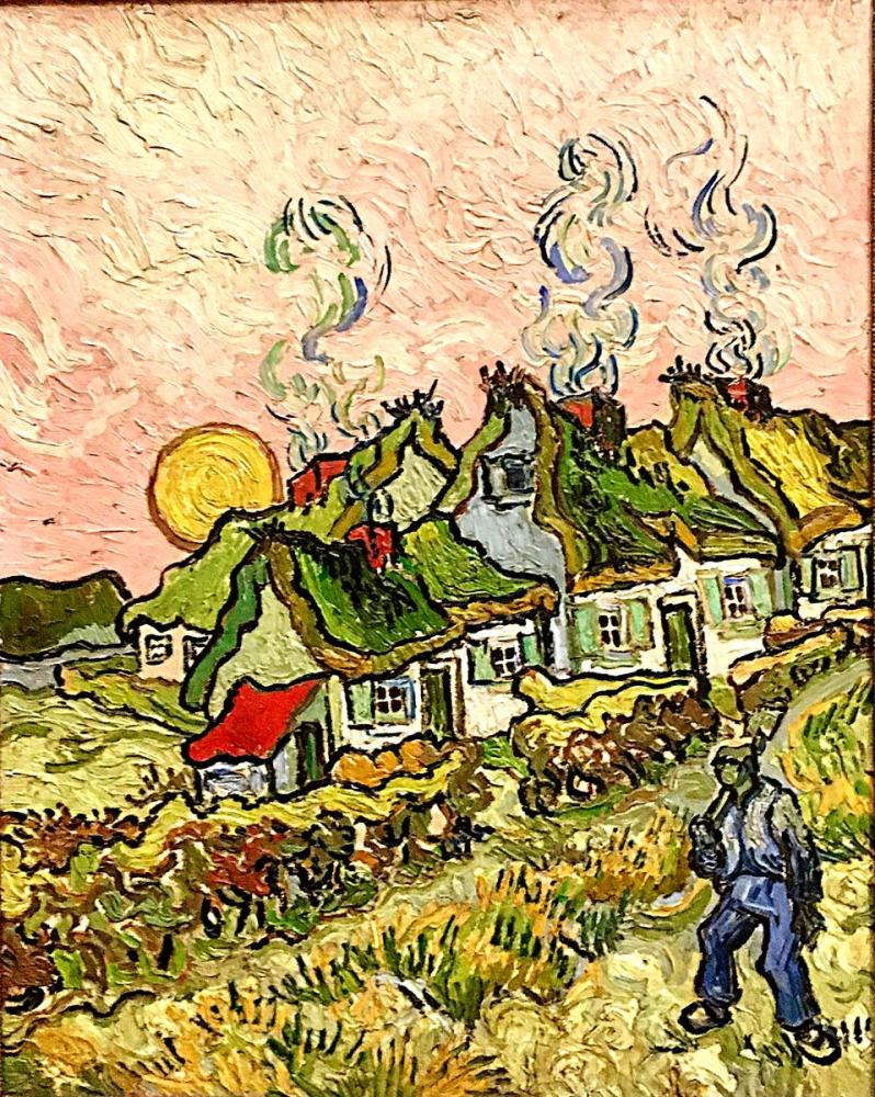 Vincent van Gogh, Thatched Cottages in the Sunshine, Canvas, Vincent Van Gogh, kanvas tablo, canvas print sales