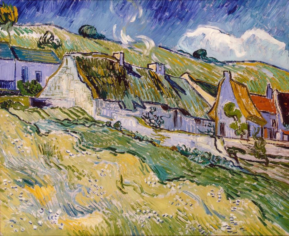 Vincent van Gogh, Thatched Houses, Canvas, Vincent Van Gogh, kanvas tablo, canvas print sales