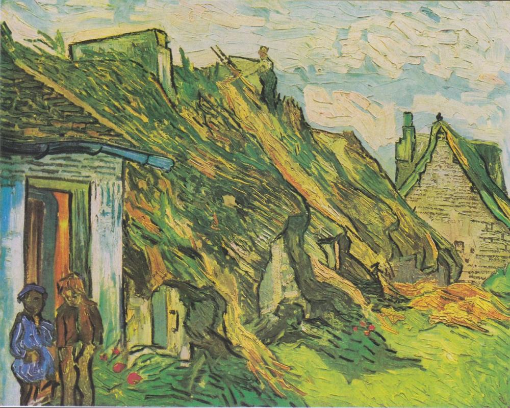Vincent van Gogh, Thatched Huts in Chaponval, Canvas, Vincent Van Gogh, kanvas tablo, canvas print sales