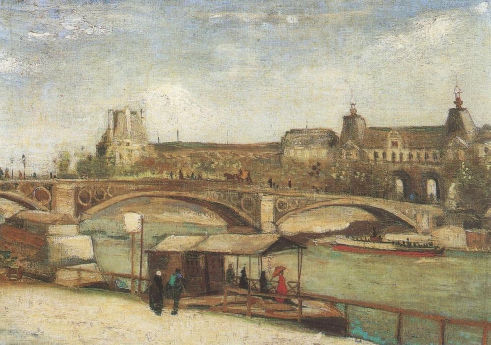 Vincent van Gogh, Carroussels Köprüsü ve Louvre, Paris, Kanvas Tablo, Vincent Van Gogh, kanvas tablo, canvas print sales