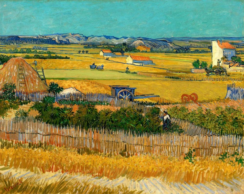 Vincent van Gogh, The Harvest at La Crau with Montmajour, Canvas, Vincent Van Gogh, kanvas tablo, canvas print sales