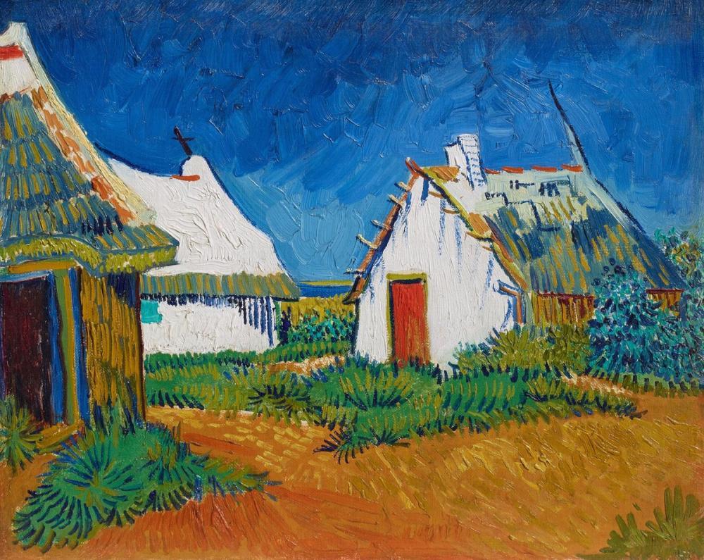 Vincent van Gogh, Three White Huts in Saintes Maries, Canvas, Vincent Van Gogh, kanvas tablo, canvas print sales