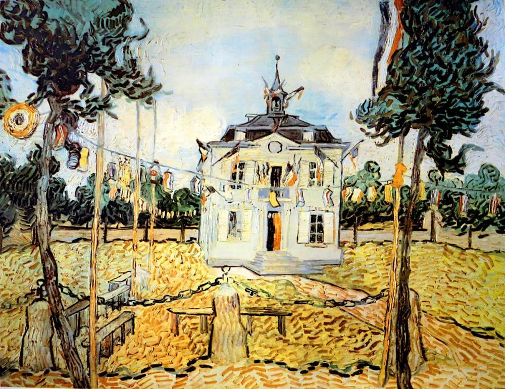 Vincent van Gogh, Belediye Binası Auvers Sur Oise, Kanvas Tablo, Vincent Van Gogh, kanvas tablo, canvas print sales