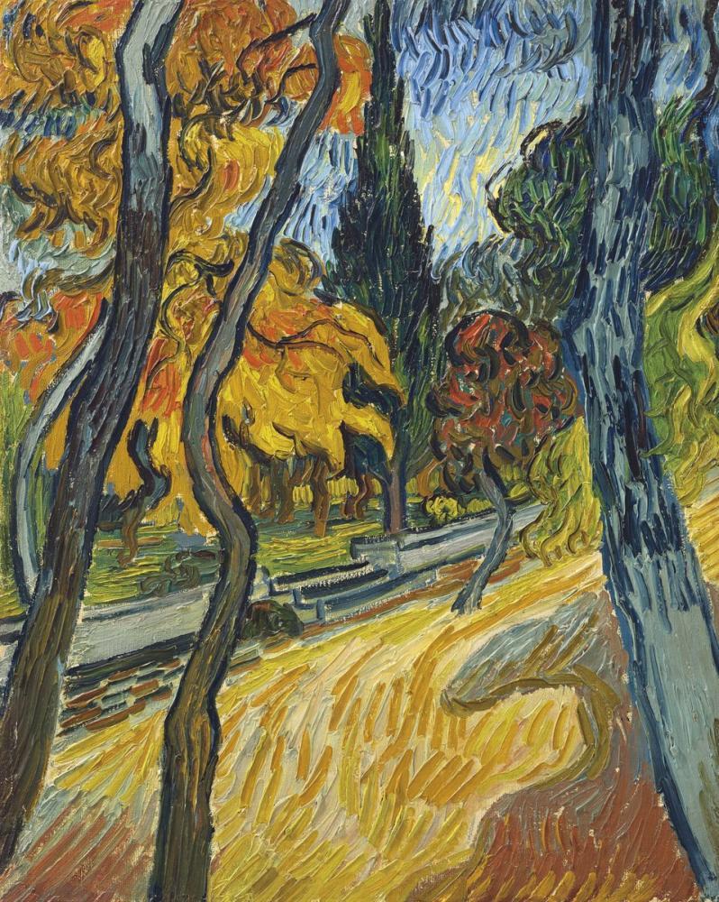 Vincent van Gogh, Akıl Hastanesi Bahçesindeki Ağaçlar, Kanvas Tablo, Vincent Van Gogh, kanvas tablo, canvas print sales