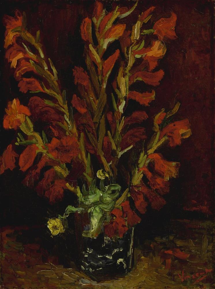 Vincent van Gogh, Vase with Red Gladiolas, Canvas, Vincent Van Gogh, kanvas tablo, canvas print sales
