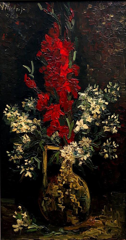 Vincent van Gogh, Vase with Red Gladioli and White Matte, Canvas, Vincent Van Gogh, kanvas tablo, canvas print sales