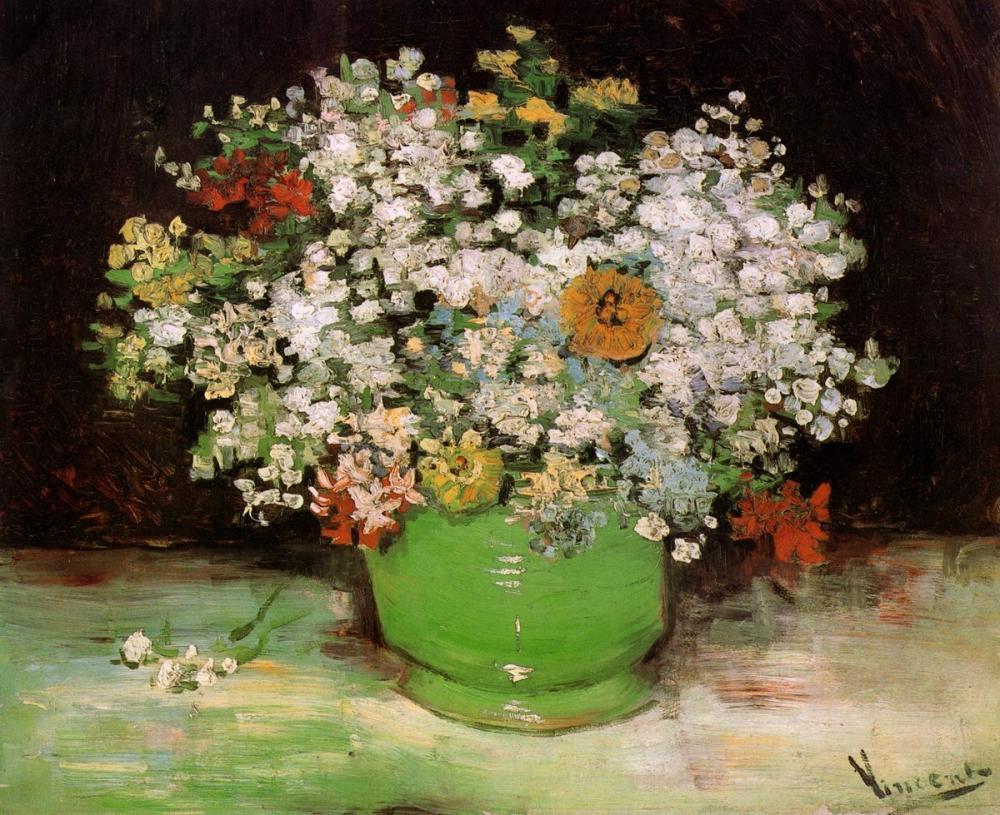Vincent van Gogh, Zinnias ve Diğer Çiçeklerle Vazo, Kanvas Tablo, Vincent Van Gogh, kanvas tablo, canvas print sales
