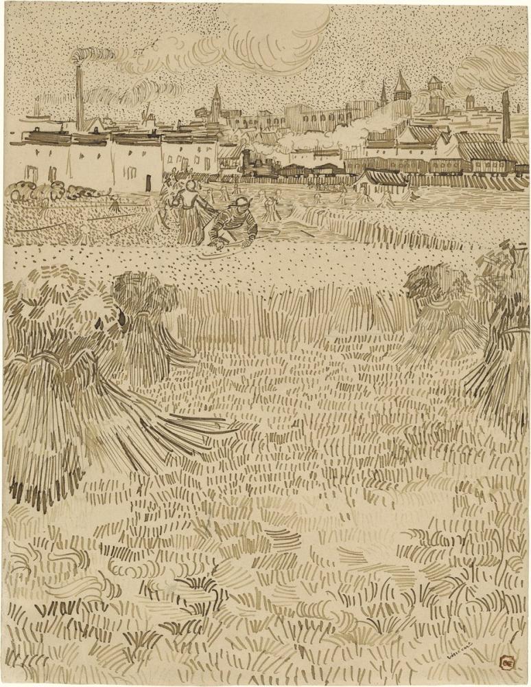 Vincent van Gogh, View from the Wheatfields, Figure, Vincent Van Gogh, kanvas tablo, canvas print sales