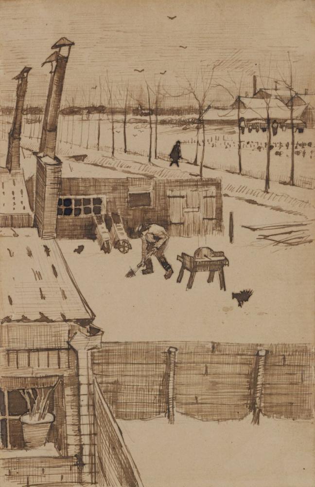 Vincent van Gogh, View from the Window of Vincent s Studio in Winter I, Canvas, Vincent Van Gogh, kanvas tablo, canvas print sales