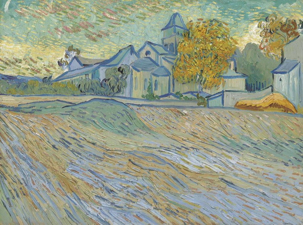 Vincent van Gogh, View of Lasile and Chapel Saint Paul de Mausole, Canvas, Vincent Van Gogh, kanvas tablo, canvas print sales