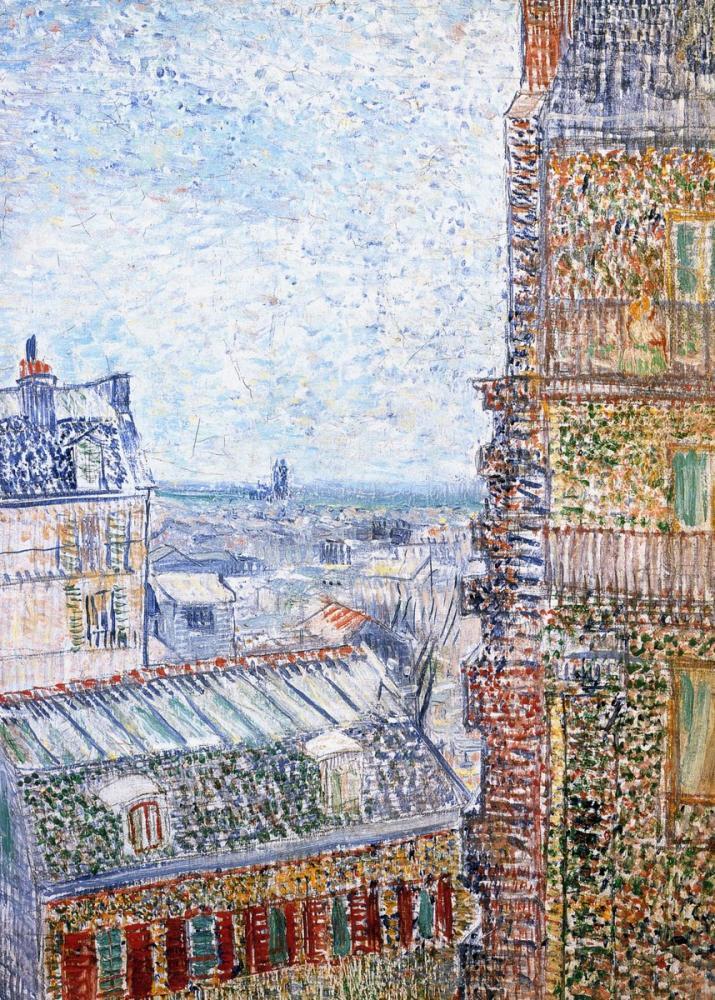 Vincent van Gogh, Rue Lepic teki Vincent ın Odasından Paris Görünümü, Kanvas Tablo, Vincent Van Gogh, kanvas tablo, canvas print sales