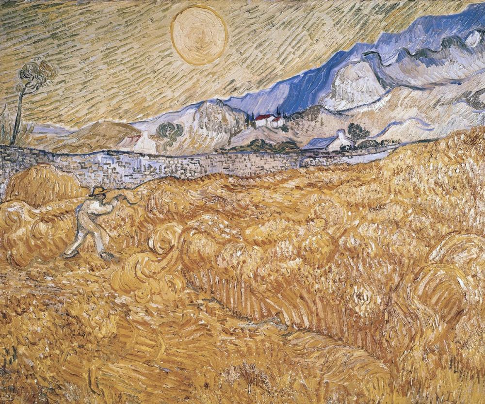 Vincent van Gogh, Wheat Field with Reaper, Harvest in Provence, Canvas, Vincent Van Gogh, kanvas tablo, canvas print sales