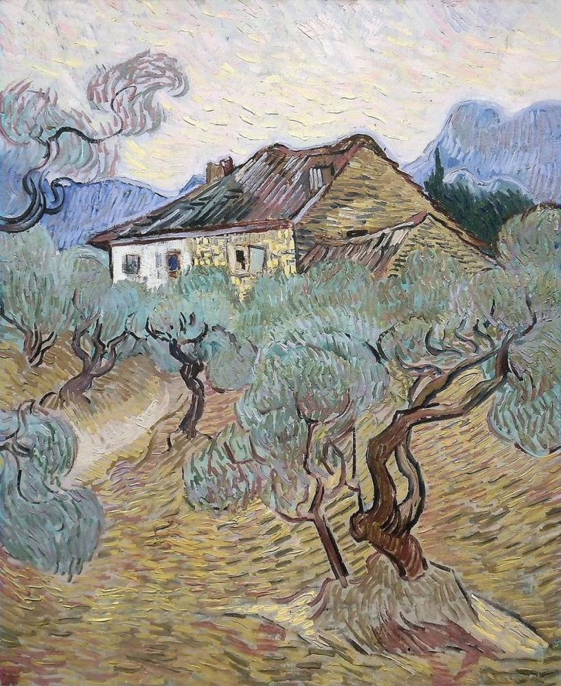 Vincent van Gogh, Zeytin Ağaçları Arasında Beyaz Çiftlik Evi, Kanvas Tablo, Vincent Van Gogh, kanvas tablo, canvas print sales