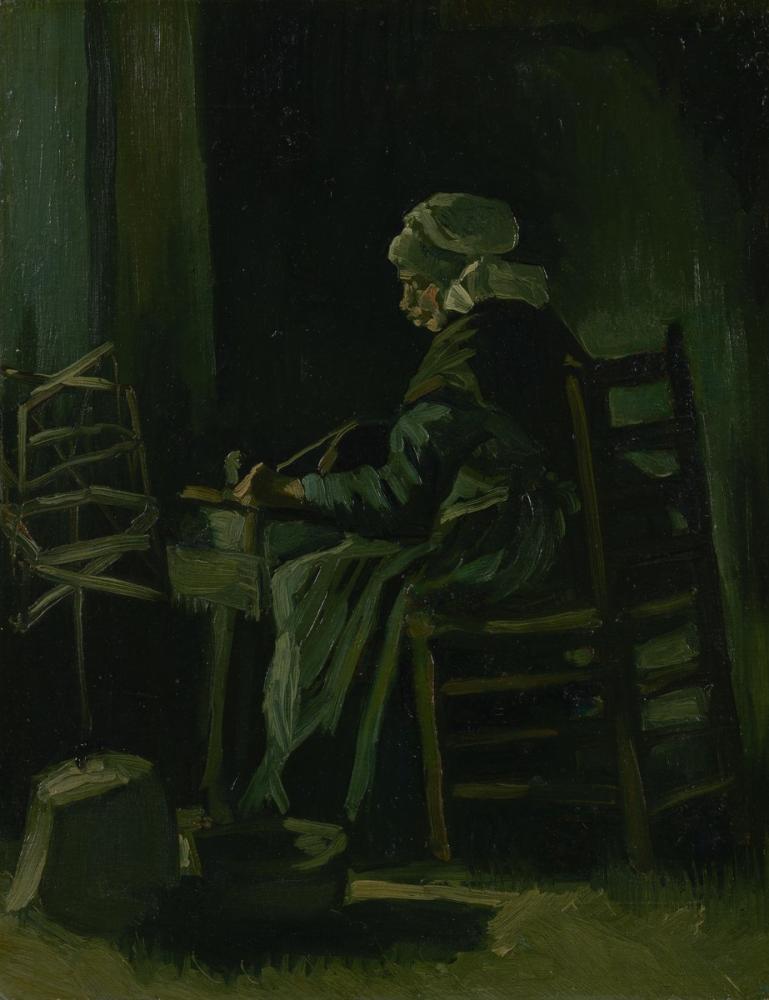 Vincent van Gogh, Kadın İplik Eğirme, Kanvas Tablo, Vincent Van Gogh, kanvas tablo, canvas print sales