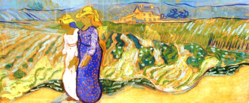 Vincent van Gogh, Women Crossing Fields Nima, Canvas, Vincent Van Gogh, kanvas tablo, canvas print sales