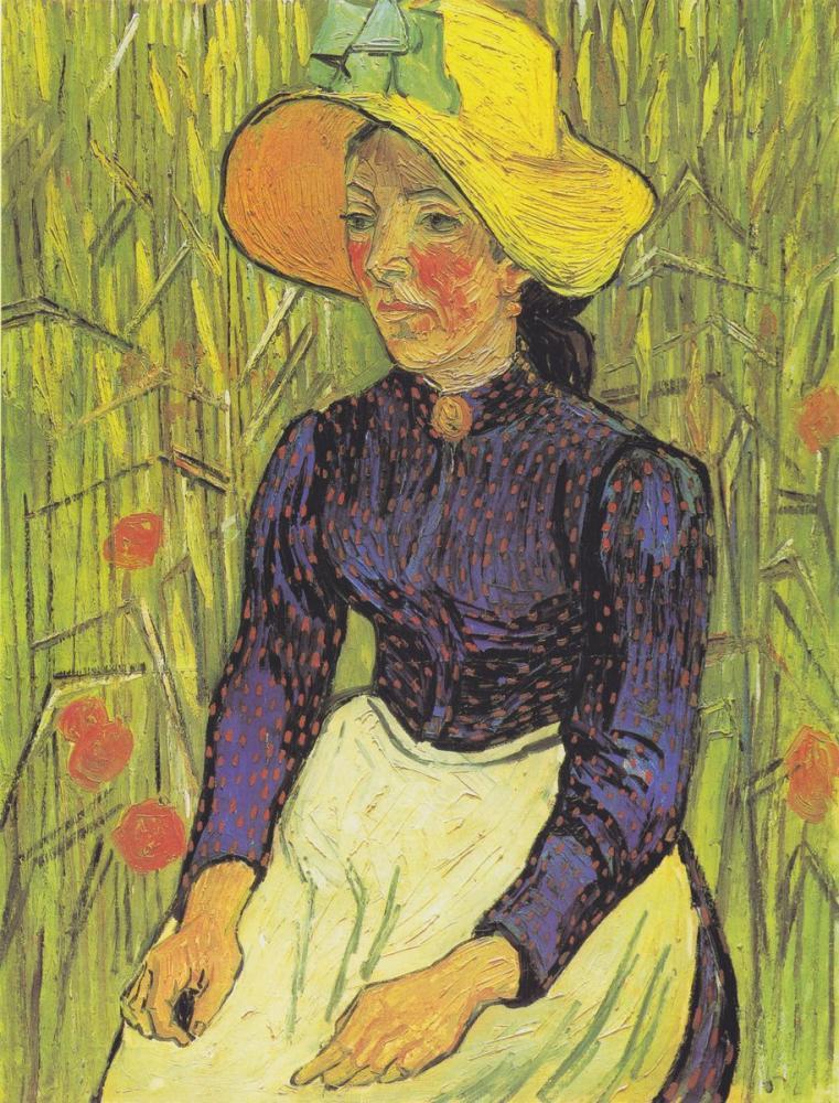 Vincent van Gogh, Hasır Şapka ile Buğday da Oturan Genç Köylü Kadın, Kanvas Tablo, Vincent Van Gogh, kanvas tablo, canvas print sales