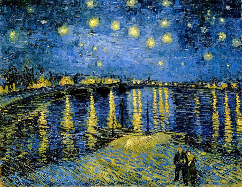Rhone Üzerinde Yıldızlı Gece, Vincent va Gogh, Kanvas Tablo, Vincent Van Gogh, kanvas tablo, canvas print sales