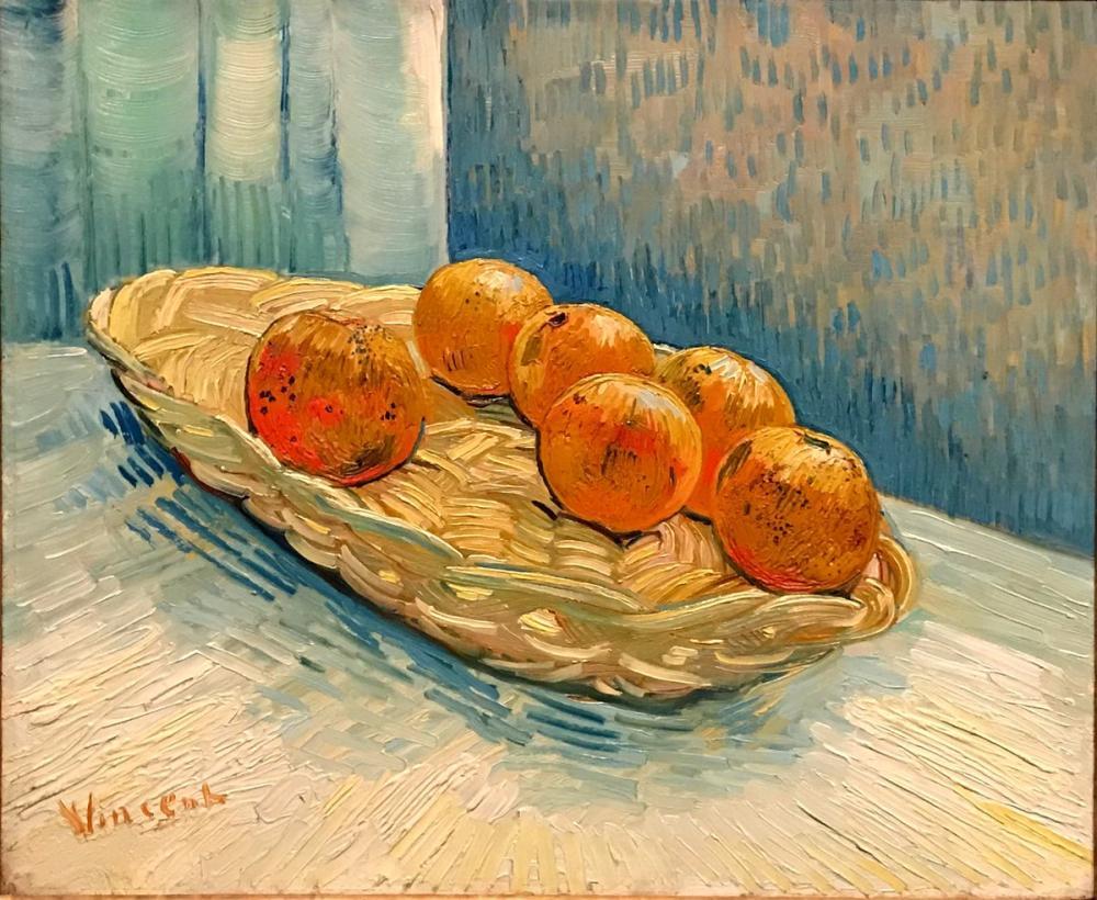 Vincent van Gogh, Still Life With Basket And Six Oranges, Canvas, Vincent Van Gogh, kanvas tablo, canvas print sales
