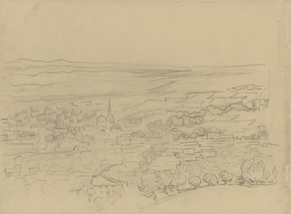 Vincent van Gogh, Köyün Kuş Bakışı Görünümü, Kanvas Tablo, Vincent Van Gogh, kanvas tablo, canvas print sales