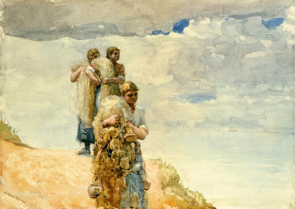 Uçurum, Cullercoats Üzerinde, Winslow Homer, Kanvas Tablo, Winslow Homer, kanvas tablo, canvas print sales