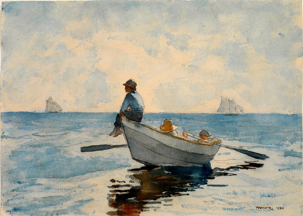Sandaldaki Çocuklar 1880, Key West, Winslow Homer, Kanvas Tablo, Winslow Homer, kanvas tablo, canvas print sales